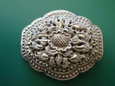 ANTIQUE ORIGINAL Balkan OTTOMAN lace forged engraved silver brooch decorat XIXc 5