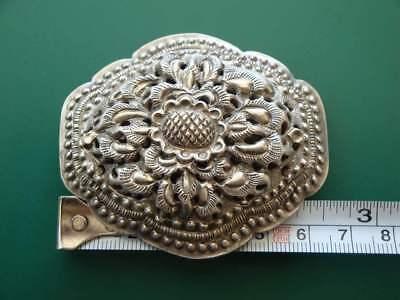 ANTIQUE ORIGINAL Balkan OTTOMAN lace forged engraved silver brooch decorat XIXc 7