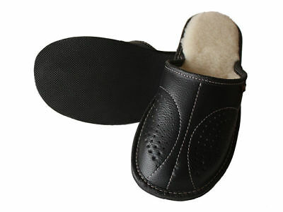 Mens Leather Slippers Slip On Shoes Moccasins Size 7 8 9 10 11 12 13 UK Mules 3
