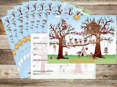 2 Von 5 Einladungskarten Kindergeburtstag Im Kletterpark / Hochseilgarten  Im Wald