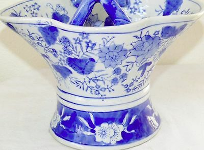 Chinese Cobalt Blue White Porcelain Handled Basket Hand Painted Lotus Flowers 2