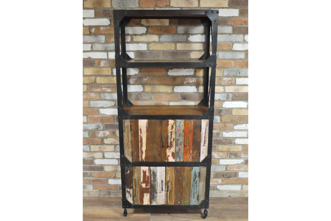 Industrial Reclaimed Rustic Metal Wood Bookcase Shelf