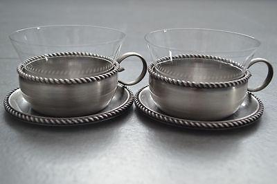 2 Teeglas + Glaseinsatz + Untersetzer BBI Braucke Berkenhoff Iserlohn Kordelrand 2