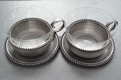 2 Teeglas + Glaseinsatz + Untersetzer BBI Braucke Berkenhoff Iserlohn Kordelrand 3