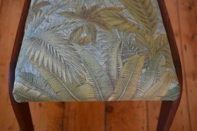 Vintage Mid century wooden chair tropical fern fabric : price for one chair only 7