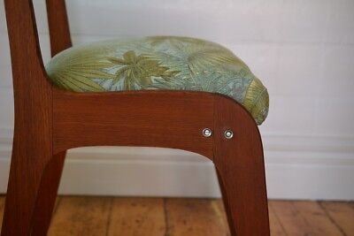 Vintage Mid century wooden chair tropical fern fabric : price for one chair only 8