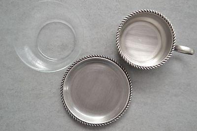 2 Teeglas + Glaseinsatz + Untersetzer BBI Braucke Berkenhoff Iserlohn Kordelrand 4