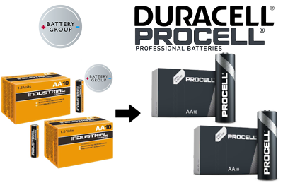 20x AA Duracell batteries Industrial Procell Alkaline MN1500 Expiry 2026 2