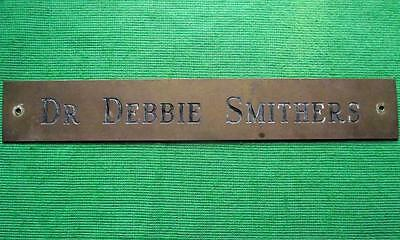 """Old Brass Vintage Sign Plaque Dr Debbie Smithers Surgeon Physician 12"""" X 1.75"""" 3"""