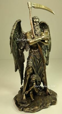 "11/"" CHRONOS Greek Father of Time Sculpture Statue Antique Bronze Finish"