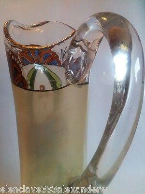 ART NOUVEAU Belle Epoque JARRA Antigua CristalEpoca Siglo XlX Decoracion Esmalte 5
