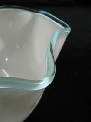 "Pair Hand-Blown Opaque White Gas Light Shades with Teal Border 3 3/8"" X 8"" 6"