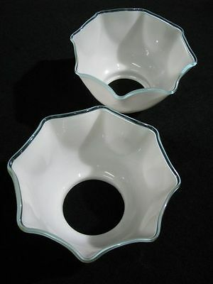 "Pair Hand-Blown Opaque White Gas Light Shades with Teal Border 3 3/8"" X 8"" 7"