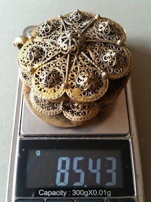 SUPERB ANTIQUE OTTOMAN GOLD PLATED hand-knitted SILVER filigree belt buckle XIXc 12