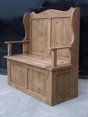 Rustic Old Solid Pine Monks Settle Bench Inc Arms & Storage We Can Make Any Size 3