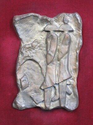 Le Ombre 1990 Escultura Fundición Bronce Firmada con Marco de la Velour Madera 10