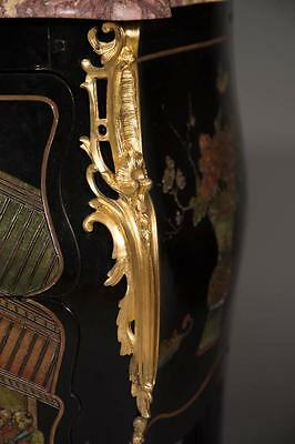 French Antique Louis XV Style Gilt Bronze Mounted Chinoiserie Commode