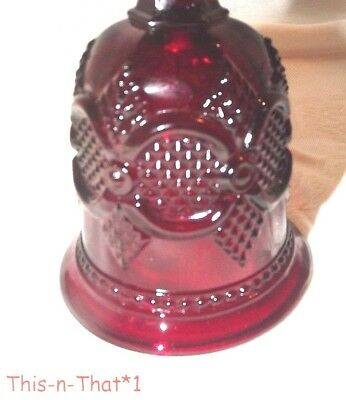 Vintage Ruby Red Cut Glass Bell Avon with Dinger Bell Collector