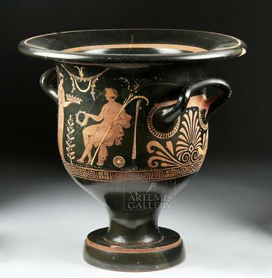Impressive Greek Apulian Bell Krater - Maenad & Man Lot 25