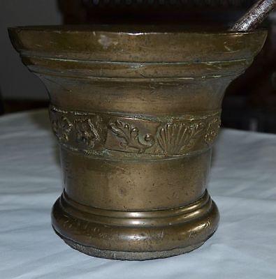 Gigantischer Bronze Mörser Ornamente Pistil Schöne Patina England Um 1600 13 Kg