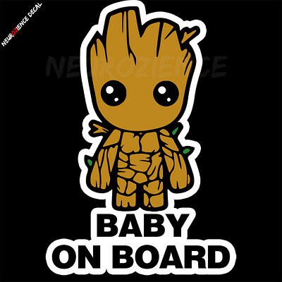 Baby GROOT on board 100x145mm Guardians of the Galaxy vinyl DECAL STICKER BUMPER 3