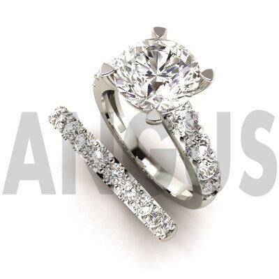3.58ct Brilliant Round cut Engagement Ring Wedding Band Solid 14k White Gold 3