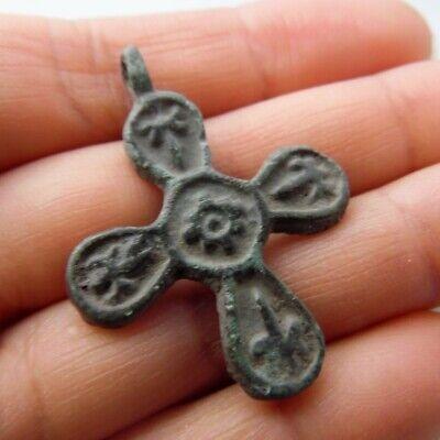 Ancient Viking Bronze  Cross Pendant Kievan Rus XI-XIIc* 2