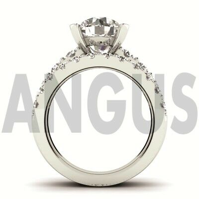 3.58ct Brilliant Round cut Engagement Ring Wedding Band Solid 14k White Gold 5