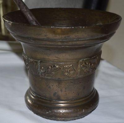 Gigantischer Bronze Mörser Ornamente Pistil Schöne Patina England Um 1600 13 Kg 3