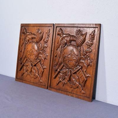 *Pair of Vintage French Carved Solid Oak Panels Arts Themed with Centaur 3 2