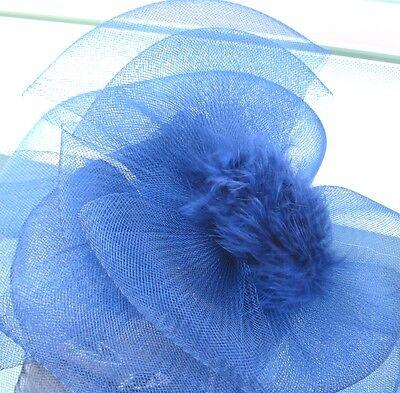 navy blue feather fascinator millinery burlesque headband wedding hat ascot 4