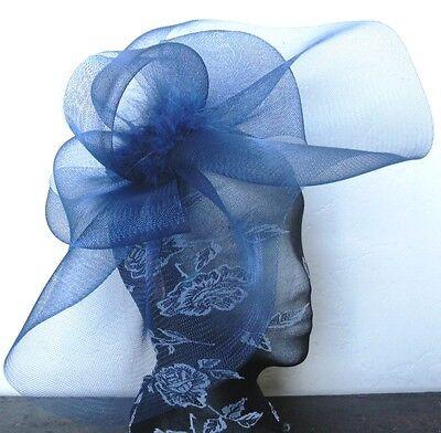 navy blue feather fascinator millinery burlesque headband wedding hat hair piece 2