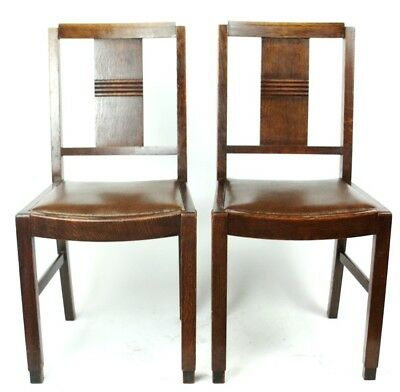 Art Deco pair of Oak Wood Dining Chairs | Patina - PRICE IS FOR PAIR [PL2033B] 4