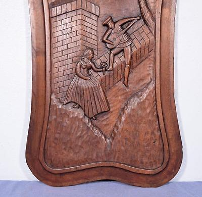 *Large French Deeply Carved Architectural Panel Solid Mahogany Romantic Theme 5