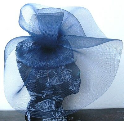 navy blue feather fascinator millinery burlesque headband wedding hat hair piece 3