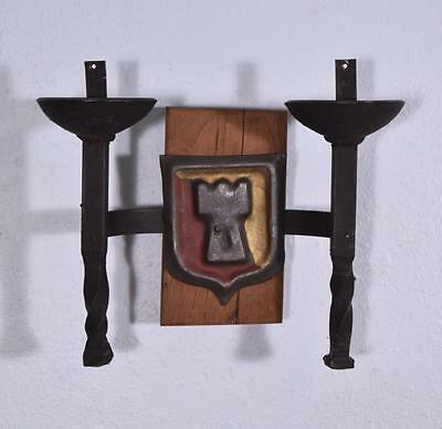 *Pair of Vintage French Wrought Iron and Oak Primitive Wall Sconces 5