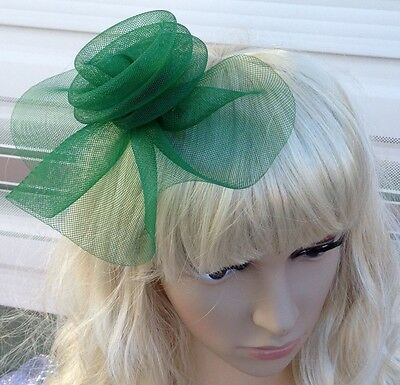 green fascinator millinery feather brooch clip wedding hat bridal ascot race 2