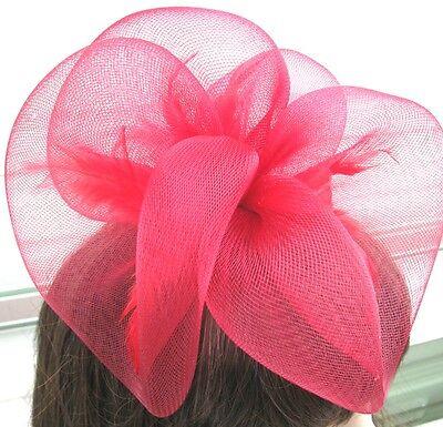 dark red fascinator millinery feather brooch clip wedding hair piece ascot 1 3