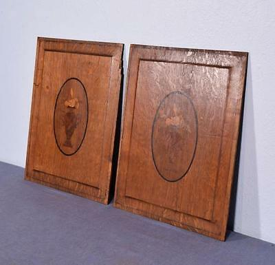 *Pair of Antique French Inlaid Marquetry Solid Oak Panels with Urns 2