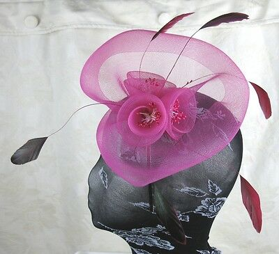hot pink feather headband fascinator millinery wedding ascot hat hair piece 3