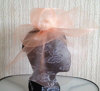 nude peach coral feather headband fascinator millinery hat wedding ascot race 3