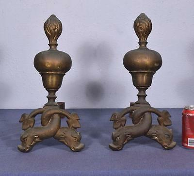 "*16"" tall Antique Bronze and Iron Andirons Fireplace Chenet with Dolphin Feet 2"