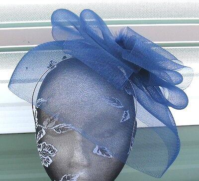 navy blue feather fascinator millinery burlesque headband wedding hat ascot 2