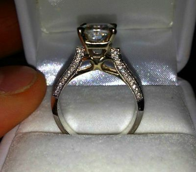 14K White gold 2.45ct Lab created Solitaire Anniversary Engagement Ring 5