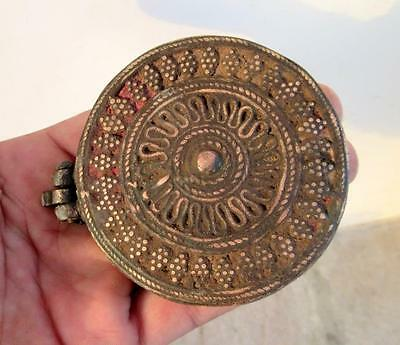 Antique Old Hand Carved Heavy Brass Beautiful Islamic Opium Unique Round Box 9