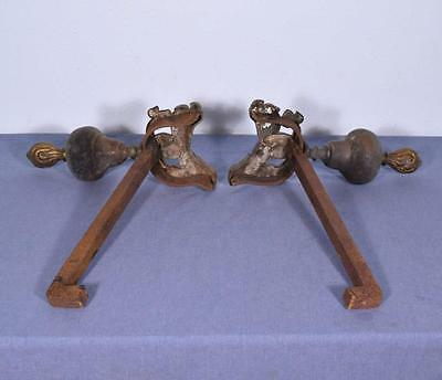 "*16"" tall Antique Bronze and Iron Andirons Fireplace Chenet with Dolphin Feet 10"
