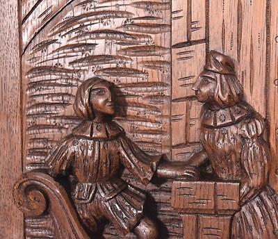 *Large French Antique Deeply Carved Panel Solid Oak with Man and Woman 7