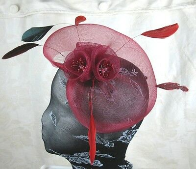 dark red feather headband fascinator millinery wedding ascot hat hair piece 3