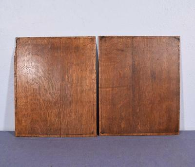 *Pair of Antique French Inlaid Marquetry Solid Oak Panels with Urns 9