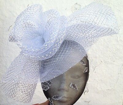 silver fascinator millinery burlesque wedding hat ascot race bridal party 2